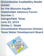 Blossom Aquifer GAM Stakeholder Advisory Forum 1 Meeting notes.