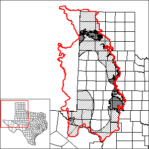 This map shows the extent and location of the Dockum Aquifer GAM.