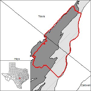 This map shows the extent and location of the Barton Springs segment of the Edwards (Balcones Fault Zone) Aquifer Alternative Model.