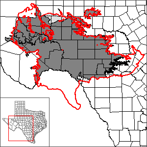 This map shows the extent and location of the Edwards-Trinity (Plateau) and Pecos Valley Aquifers One Layer Groundwater Flow Model.