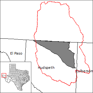 This map shows the extent and location of the Bone Spring-Victorio Peak Groundwater Flow Model.