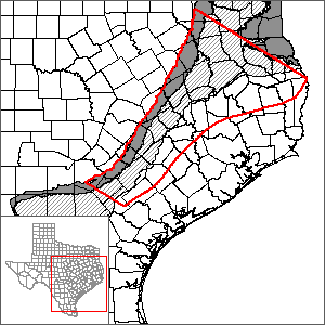This map shows the extent and location of the central portion of the Carrizo-Wilcox Aquifer GAM.