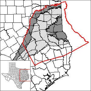 This map shows the extent and location of the northern portion of the Carrizo-Wilcox Aquifer GAM.