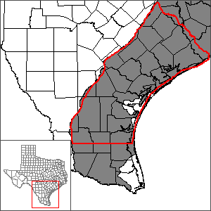 This map shows the extent and location of the central portion of the Gulf Coast Aquifer System Groundwater Availability Model.