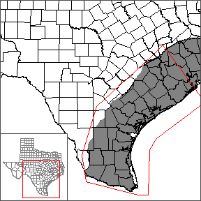 This map shows the extent and location of the southern portion of the Gulf Coast Aquifer System Groundwater Availability Model.
