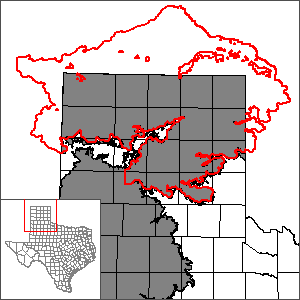 This map shows the extent and location of the northern portion of the Ogallala Aquifer Groundwater Availability Model.