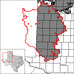 This map shows the extent and location of the southern portion of the Ogallala Aquifer Groundwater Availability Model.
