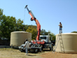 A 10,000-gallon tank being delivered.