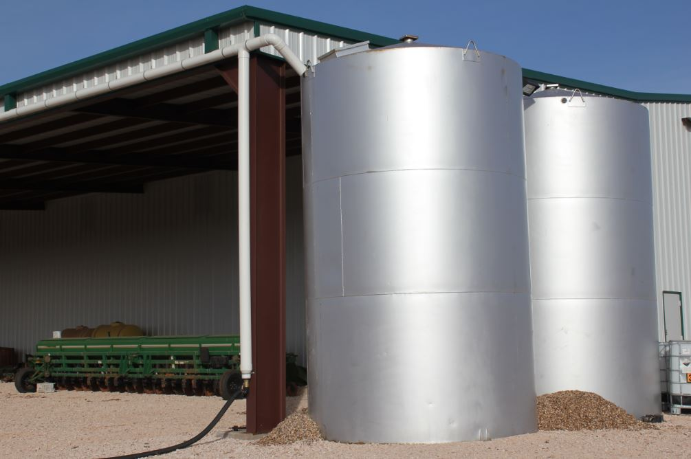 Close-up view of two of the storage tanks.