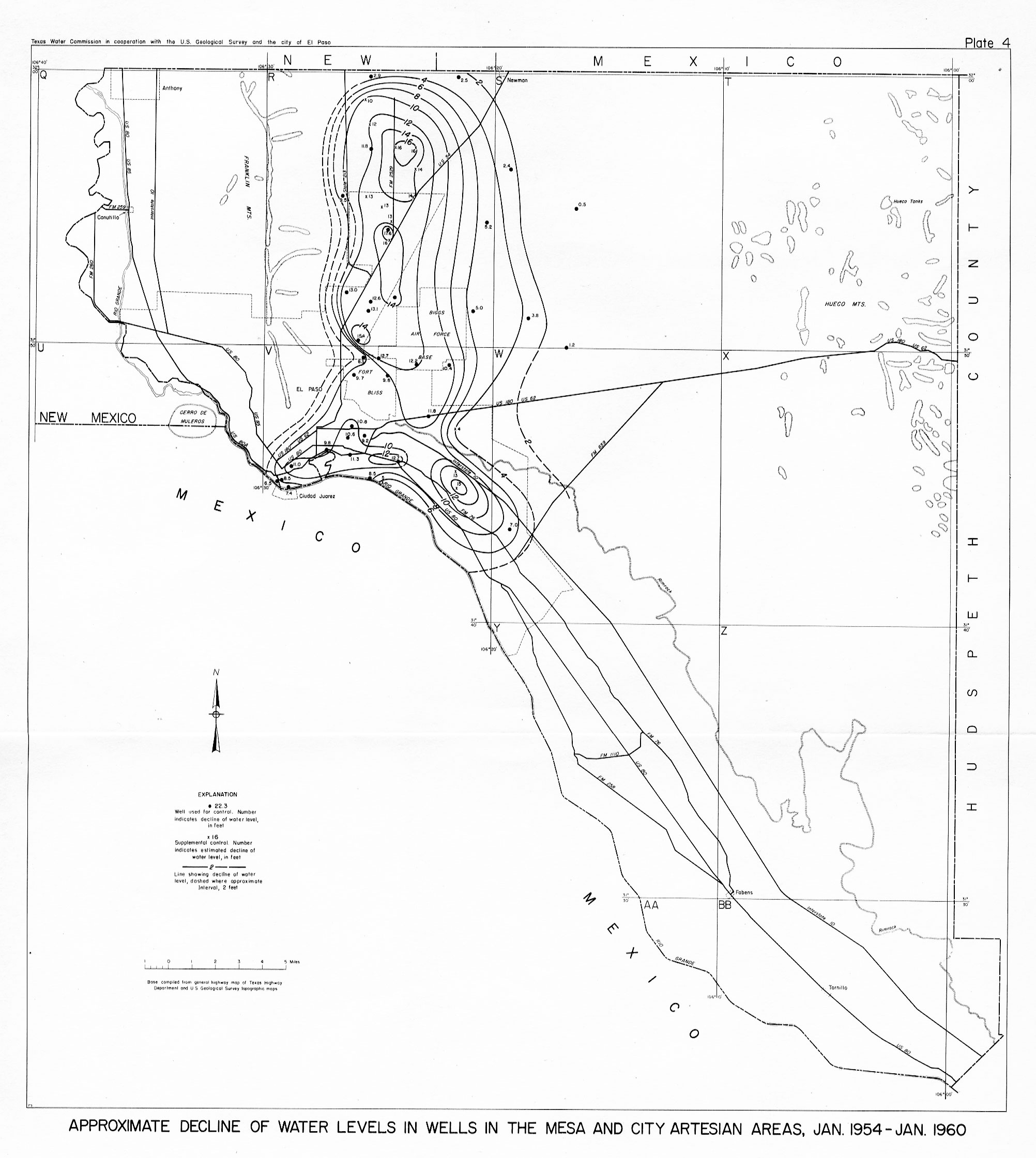bulletin 6204 texas water development board Water Well Parts Diagram decline of water levels in wells in the mesa and city artesian areas jan 1951 jan 1960