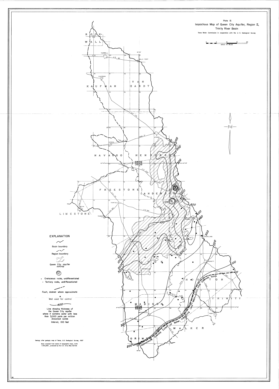2 4 Mb Isopachous Map Of Queen City Aquifer Region Ii Trinity River Basin