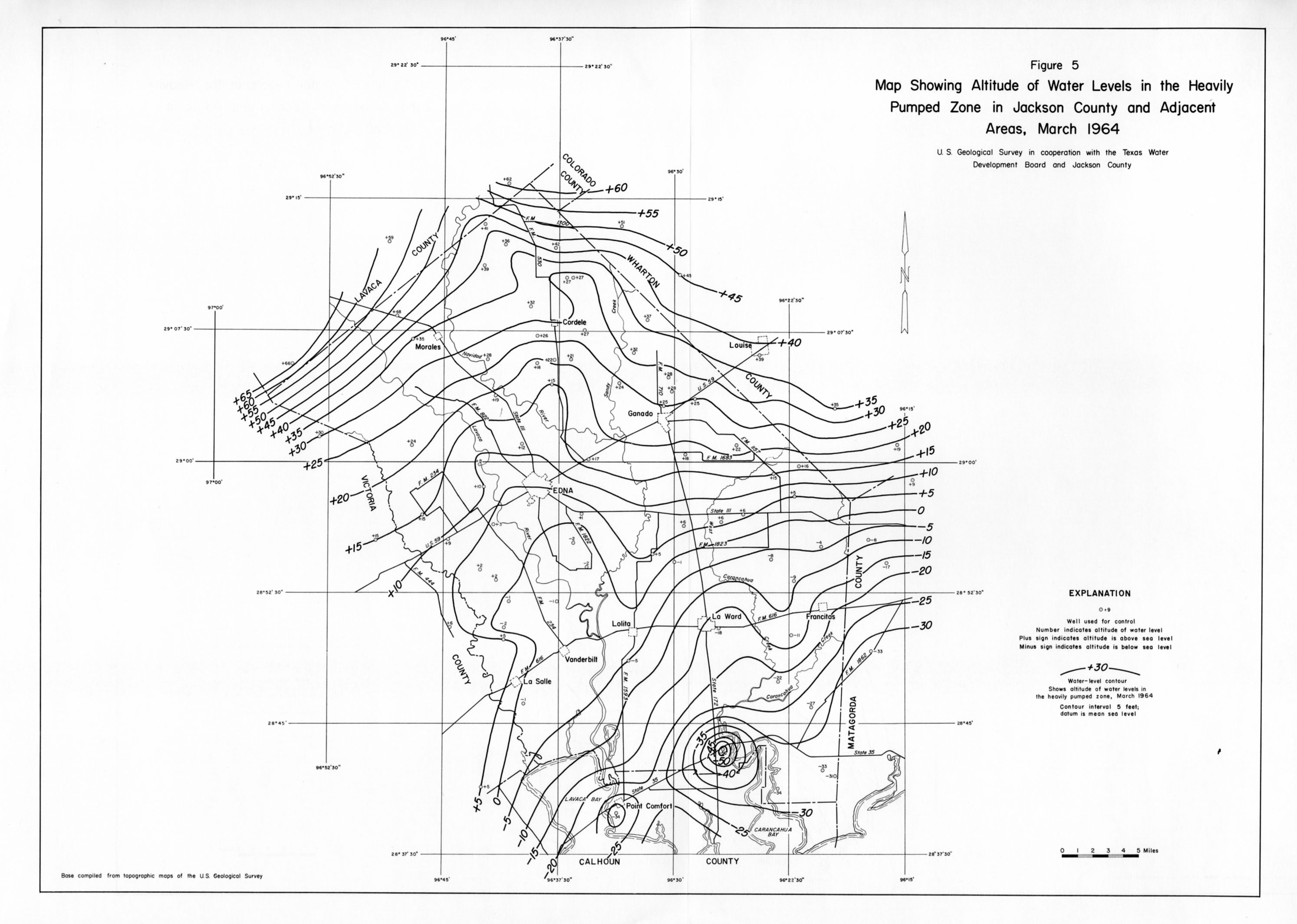 Numbered Report Texas Water Development Board - Map showing altitude