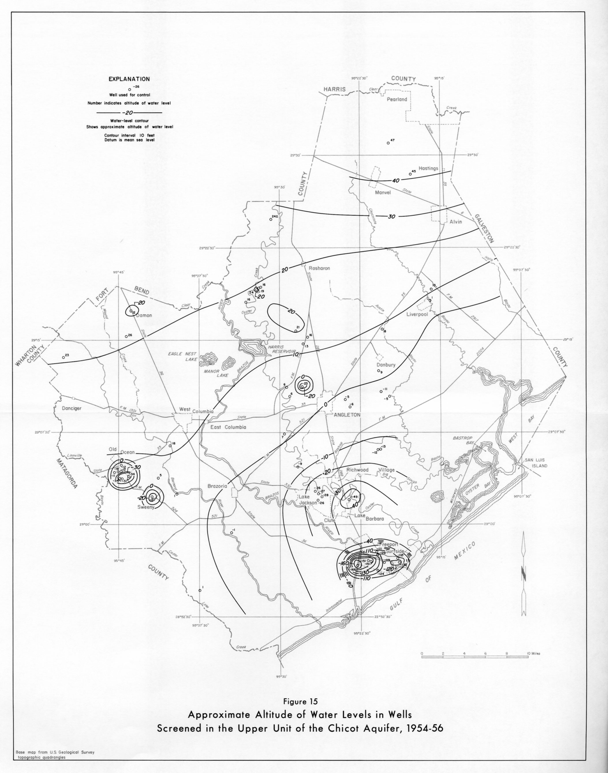Aludes Of Water Levels In Wells Screened In The Upper Unit Of The Chicot Aquifer 1954 56