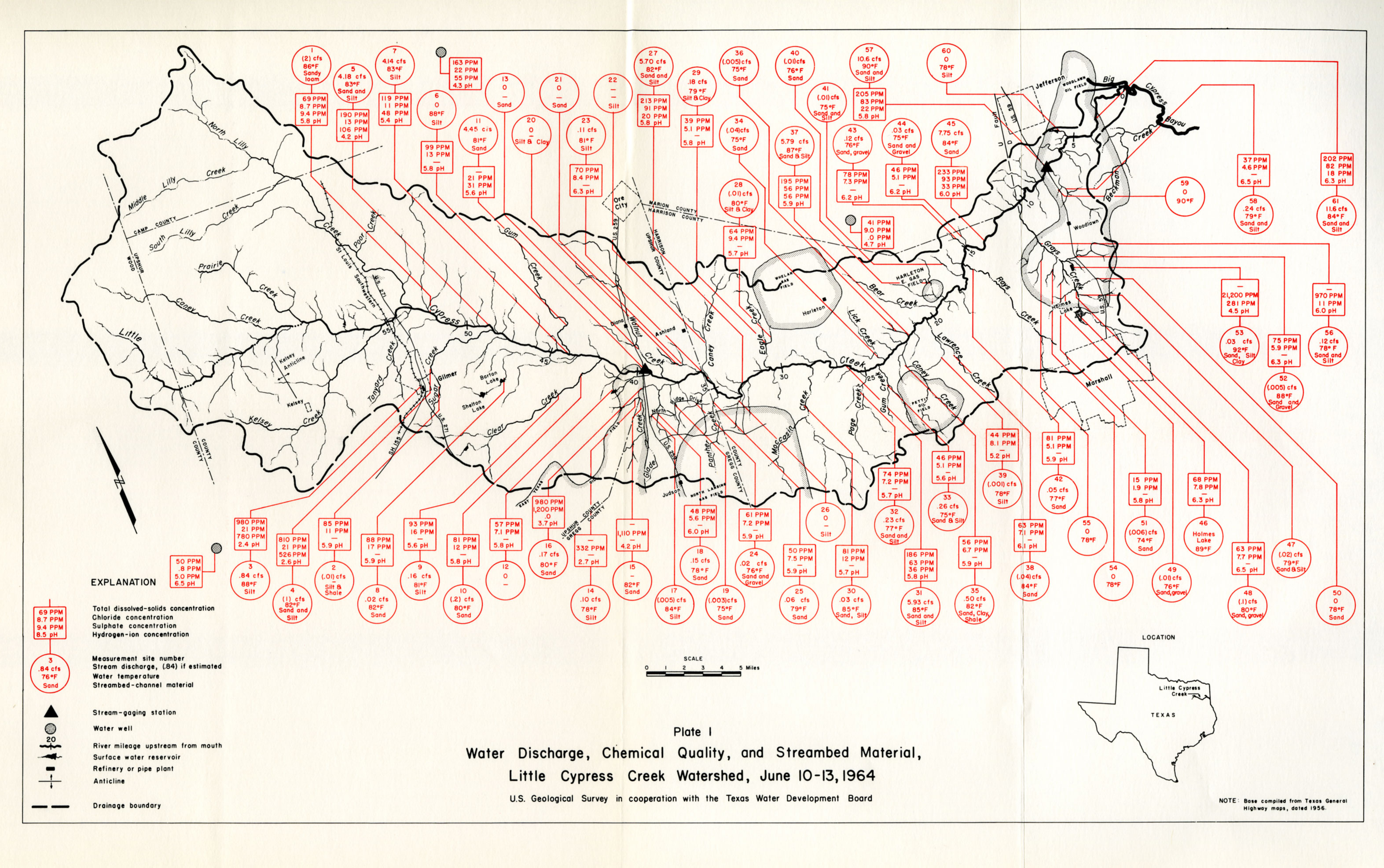 Numbered Report Texas Water Development Board - Us water ppm map