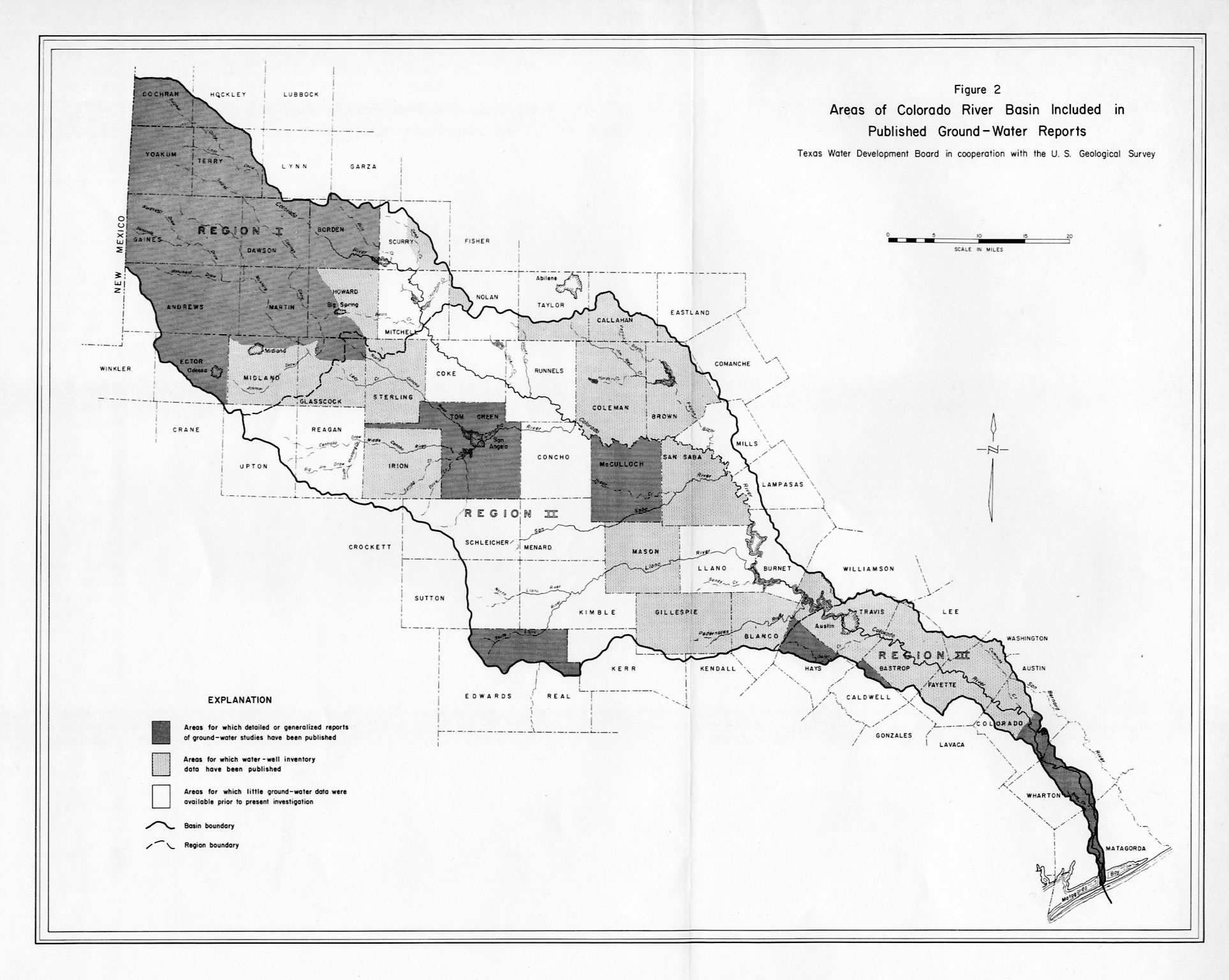 Numbered Report  Texas Water Development Board - Map of colorado river in texas