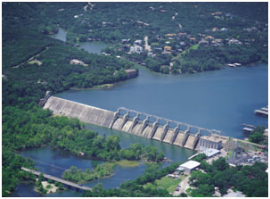 An aerial view to the Tom Miller Dam and Lake Austin (Photo provided by the owner)