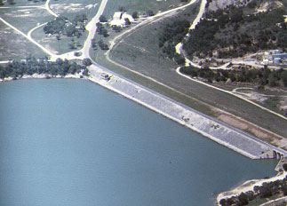 Aerial view of the Bridgeport Lake and Dam (Photo provided by Freese and Nichols, Inc.)