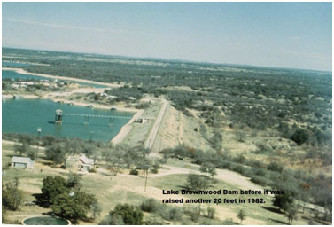 An aerial view to the old Brownwood Lake and Dam (Photo provided by the owner)