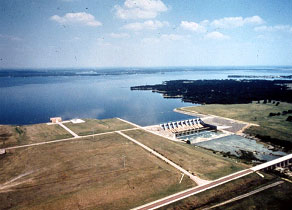 Cedar Creek Reservoir and its Spillway (Photo provided by Freese and Nichols, Inc.)