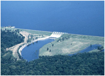 Lake Conroe and Dam with Spillway in operation (Photo by owner)