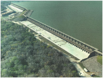 An aerial view to Lake Corpus Christi and Wesley E. Seale Dam (Photo provided by owner)