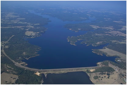 Aerial view of Lake Cypress Spring and Dam (Photo courtesy of Franklin County Water District)
