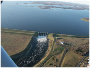 Aerial view of Lake Fork Reservoir and Dam (Photo by Sabine River Authority of Texas)