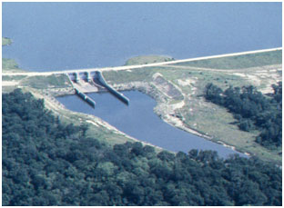 Gibbons Creek Reservoir Dam and Spillway (Photo provided by Freese and Nichols, Inc.)