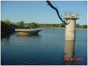 Lake Leon and its service spillway/outlet (Photo provided by Freese and Nichols, Inc.)