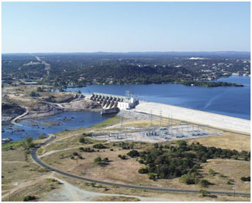 An aerial view to the Lake LBJ and dam (Photo provided by the owner)