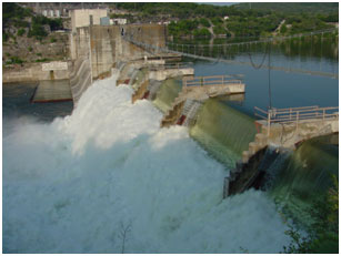 Lake Marble Falls Spillway in operation (Photo provided by the owner)