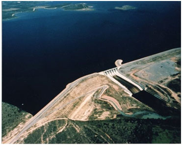 An aerial view to the O. H. Ivie Reservoir and Simon W. Freese Dam (Photo provided by the owner)