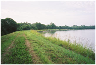 River Crest Lake and its Dam (Photo provided by Freese and Nichols, Inc.)