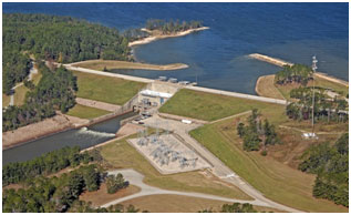 Aerial view of the Sam Rayburn Reservoir and Dam (Photo courtesy of U.S. Army Corps of Engineers)