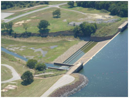 Aerial view of the Lake Tawakoni Spillway (Photo bySabine River Authority of Texas)