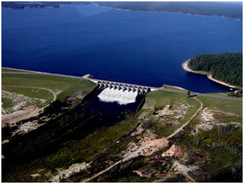 Aerial view of the Toledo Bend Reservoir Spillway (Photo Sabine River Authority of Texas)
