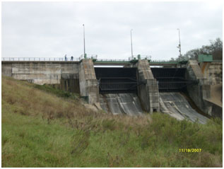 Service Spillway of Tradinghouse Creek Reservoir (Photo provided by Freese and Nichols, Inc.)