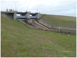 Service Spillway of Twin Oak Reservoir (Photo provided by Freese and Nichols, Inc.)