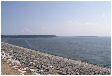 Wright Patman Lake from its Dam (Photo source: U. S. Army Corps of Engineers's website)