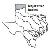 Texas map showing Canadian river basin outlines