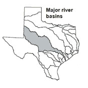 Texas map showing Colorado river basin outlines