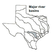 Texas map showing Guadalupe river basin outlines