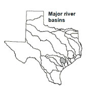 Texas map showing Lavaca river basin outlines