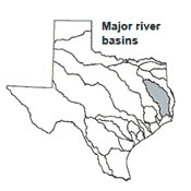 Texas map showing Neches river basin outlines