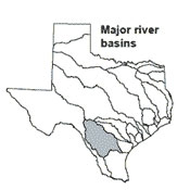 Texas map showing Nueces river basin outlines