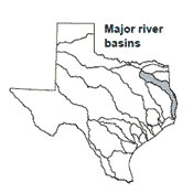 Texas map showing Sabine river basin outlines