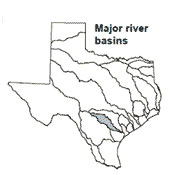 Texas map showing San Antonio river basin outlines