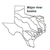 Texas map showing San Jacinto river basin outlines