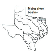 Texas map showing Sulphur river basin outlines