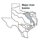 Texas map showing Brazos river basin outlines